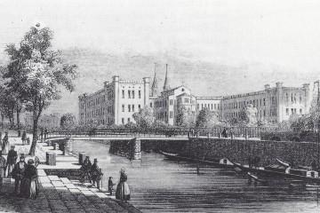 Rückseite des Bethanien mit dem Luisenstädtischen Kanal Mitte des 19. Jahrhunderts.
