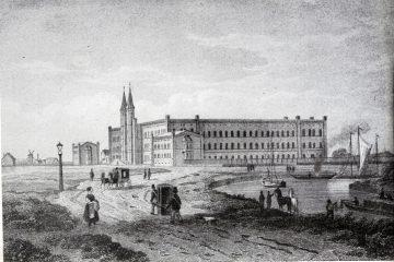 Bethanien um 1850. Variante eines Stichs, die den Luisenstädtischen Kanals noch ohne Geländer zeigt. Im Hintergrund befindet sich eine Mühle statt eines rauchenden Schornsteins.