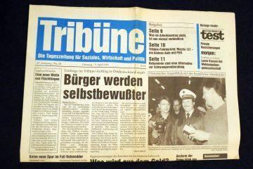"""Die """"Tribüne"""", ehemalige Zeitung des Gewerkschaftsbundes FDGB wurde 1991 eingestellt. Foto: Ulrich Horb"""